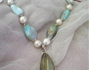 Peruvian Blue Opal Necklace & Earring Set