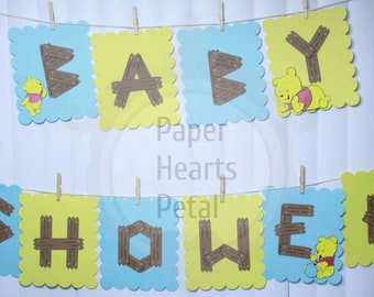 Customized Deluxe Winnie The Pooh Baby Shower Banner Clothes Line Theme - you select colors of background - FREE SHIPPING