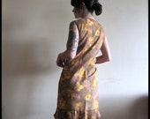 Vintage 60s Dress . Vintage French Autumnal Watercolor Drop Waist Shift Dress . Size Medium