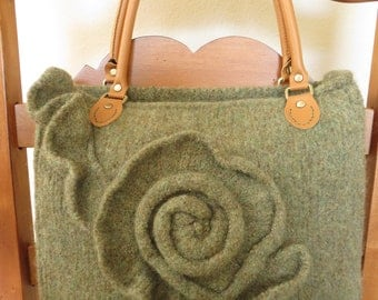 Knit and Felted Purse Pattern, Knit Bag Pattern - Knit Tote Pattern - Knit Purse Pattern, Green Rose - Knitting Patterns by Deborah O'Leary
