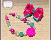 Turquoise and Pink Rosette Bow with Rhinestones and Chunky Beaded Bubblegum Necklace Set