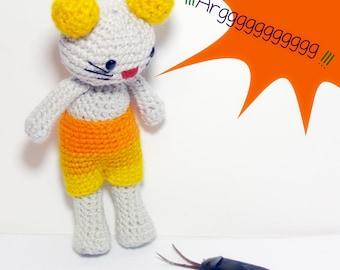 Mouse amigurumi crochet, wool toy, plush doll, gift, art doll