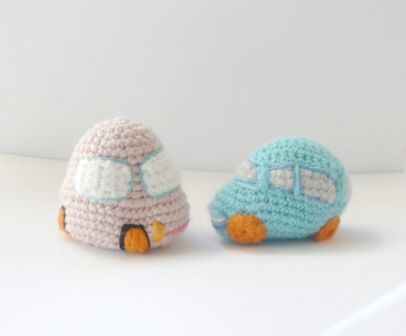 Crochet car set of 2 amigurumi toy gift plush toy wool