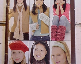 Knit Crochet Patterns Very Cool Acceossories Patons Knitting Crocheting Scarves Headbands Hats Leg Wrist Warmers Booklet