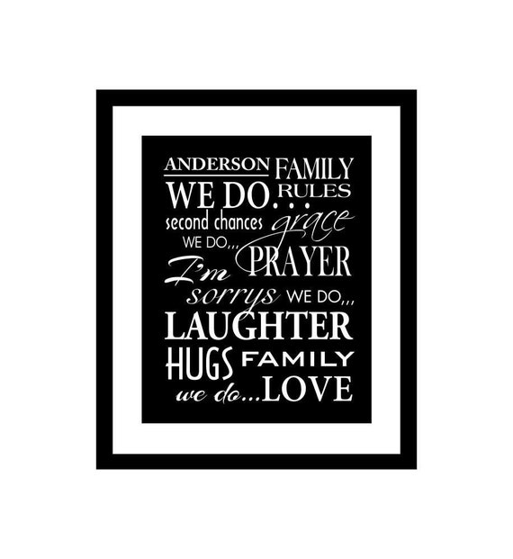 Family Rules Personalized Custom Subway Art Poster Matted Giclee