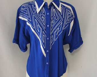 Vintage Western Style Blue and White Shirt by Cache - Size L