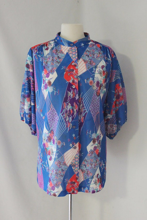 items similar to vintage asian inspired button up shirt