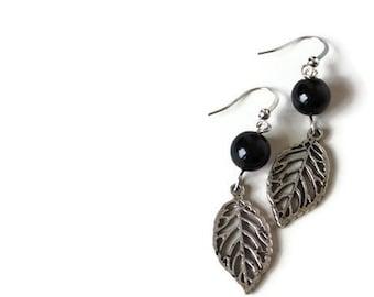 Black Beaded Earrings - Charm Earrings - Black Earrings - Simple Minimalist Earrings - Leaf Earrings - Glass Pearl Earrings - Perfect Gift
