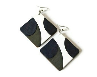 Black and White Geometric Wood Earrings in Diamond Shape. Earrings with Nickel Free Fish Hooks.