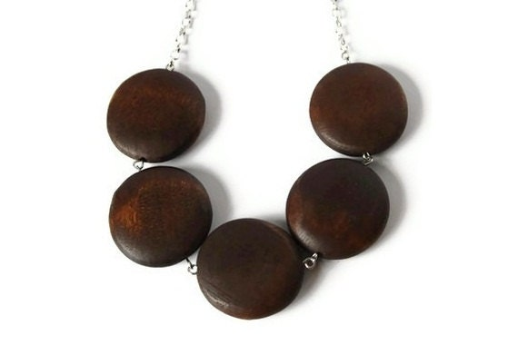Chocolate Brown Beaded Necklace in a Chunky Geometric Jewelry Style, Wooden Necklace