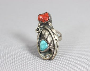 Native Ring / Size 6  Southwest Ring /  Vintage Sterling Silver Turquoise Coral Jewelry