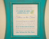 Custom Quote Print, Personalized Art Print (song lyrics, quote, poem) custom colors, aqua and yellow