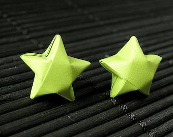 Star Earrings. Lime Green Star Earrings. Origami Star Earrings. Paper Star Earrings. Silver Post Earrings. Stud Earrings. Oragami Jewelry.