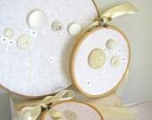 Vintage White and Cream Flower Garden, Three Hoop Wall Hanging Set, Button Embroidery Hoop Wall Art, Set of Three,Home Decor, Keepsake