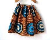 Girls African Wax Print Gathered Skirt in Orange and Blue Cotton