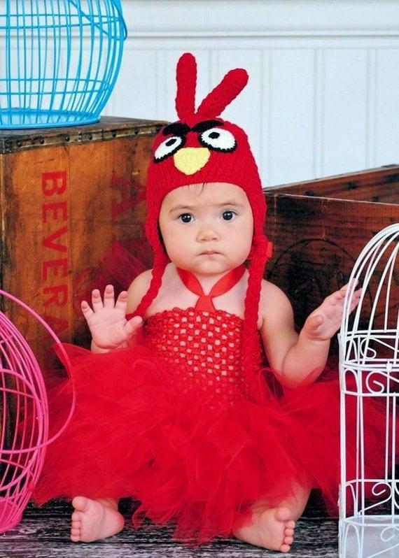 Handmade Red Bird Tutu Dress and Crochet Hat Set for Baby Girls Newborn to 12mos Halloween Pagaent Costume
