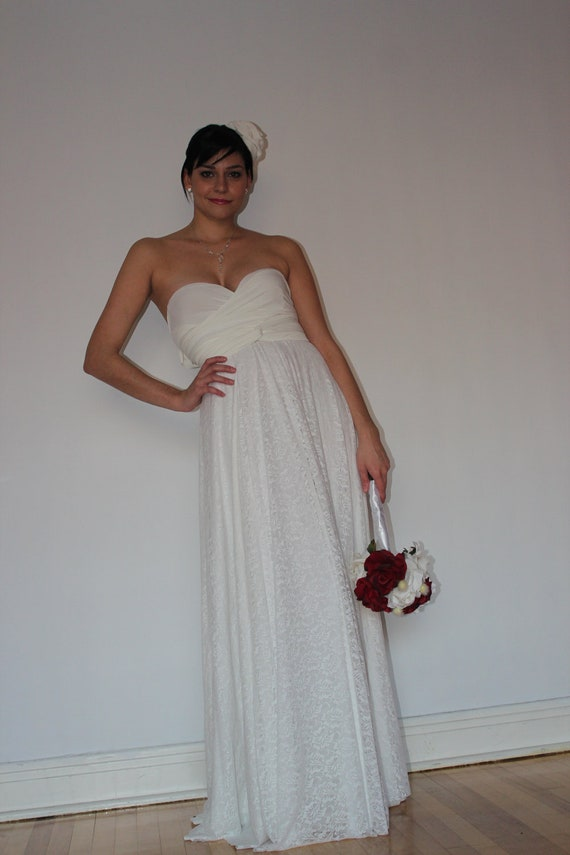 Items similar to white lace jersey knit gown destination for Jersey knit wedding dress