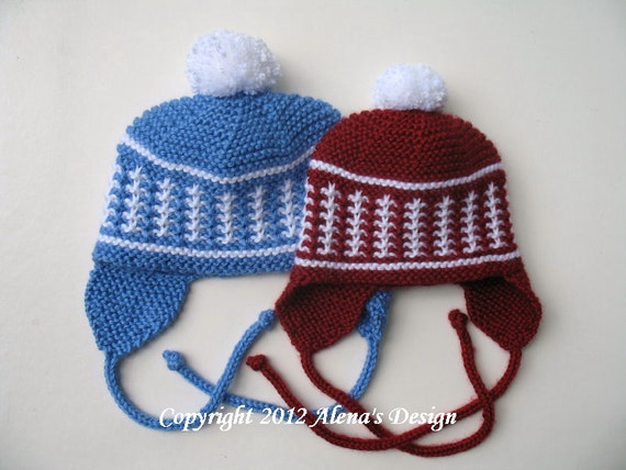 Knit Pom Pom Hat Pattern : Knitting Pattern 017 Knit Pom-Pom Ear Flap Hat by AlenasDesign