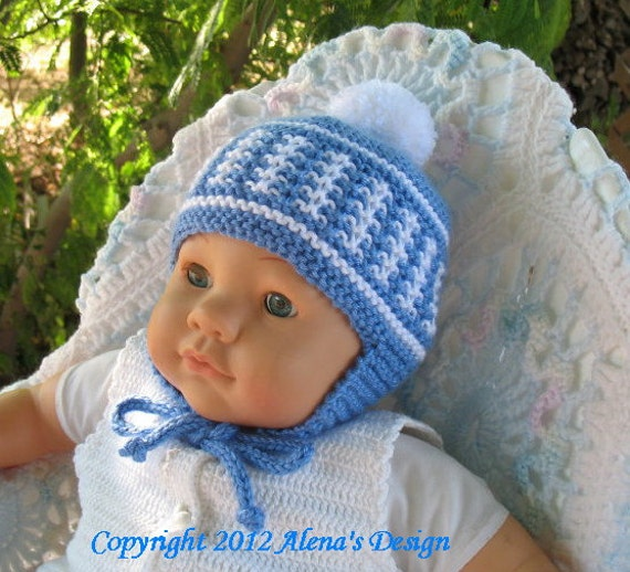 Knitting Pattern For Infant Hat With Ear Flaps : Knitting Pattern 017 Knit Pom-Pom Ear Flap Hat by AlenasDesign