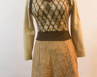 Vintage 70s Suede and Knit Dress - Ruth Norman for Gay Gibson