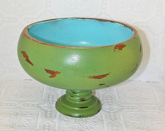Wooden bowl Turquoise Green Vintage Hand Painted