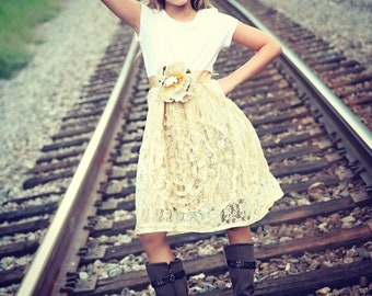 Shabby chic Cream Luxe Lace Flower Girl Dress