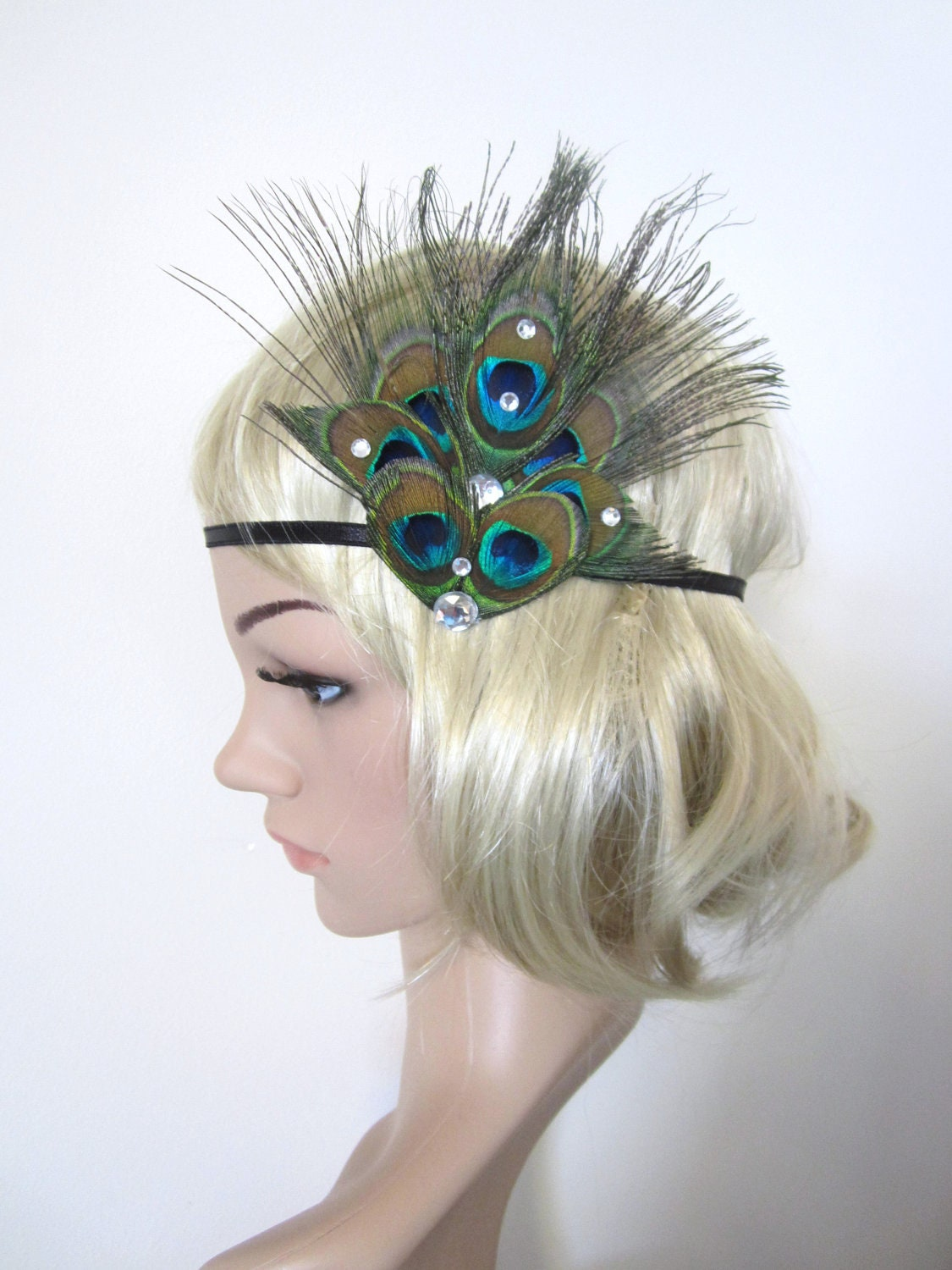 Vintage style Peacock feather 1920s flapper style headband ...
