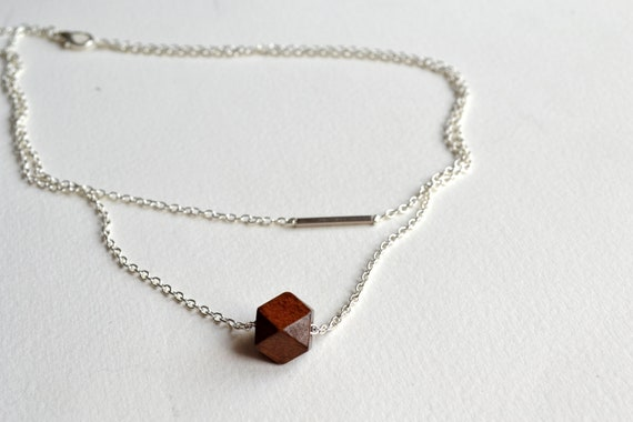 ON SALE // wooden geode silver bar necklace