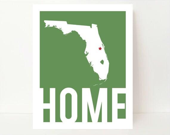 Home Print, Prints, Print Wall Art, Map Wall Art,Florida Print,Florida Map, Florida Map Print, Custom Map Art, Christmas Gifts For Neighbors