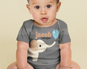 Personalized Elephant Baby Shirt, Custom Baby Boy Snap-shirt,  Boy's Outfit