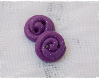Cosmic Purple Buttons, Small Spiral Buttons, Polymer Clay Buttons, Galaxy Clay Buttons, Astronomy Nebula Buttons, Artistic Button (Set Of 2)