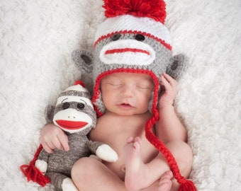 Baby Boy Hat, Toddler Sock Monkey, Child Sock Monkey hat, Adult Sock Monkey Hat, Teen Sock Monkey Hat, Baby Girl Hat, Baby Boy Hat