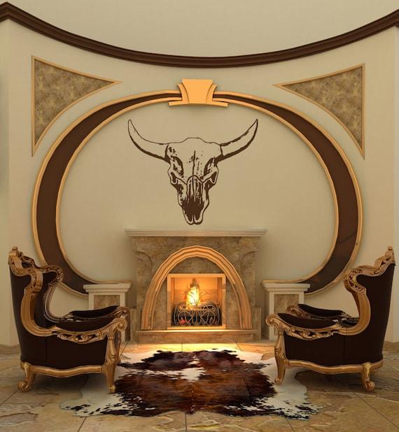 Bull Skull, Bull Horns, Bull Head, Skeleton, Wall Decal, Bull Mount, Lodge, Ranch, Steer, Cow, Sticker, Vinyl, Home, Office Decor