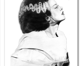 Frankenstein's Bride Mouse Pad - Original Graphite Portrait