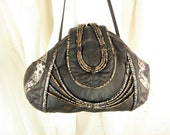 Hand Painted Silver Vintage 1980s Black Leather Crossbody Shoulder Handbag Purse LARGE