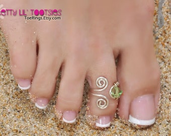 Double Wrapped Spiral Toe Ring with Wire Wrapped Swarovski Birthstone Crystal