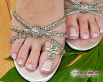 Big Toe, Wrapped Spiral and Gemstone Toe Ring