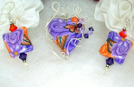 Silver Wire Wrapped Pendant & Earring Set, Artisan Polymer Clay, Swarovski, Purple Rose Orange Butterfly