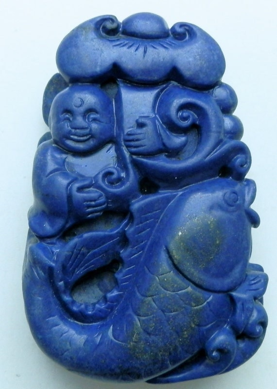 Chinese Lapis Lazuli Carved Statue. Carp and Fortune Kid
