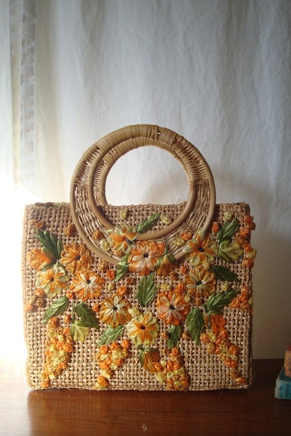 Vintage 1960s Burlap Raffia Handbag // 1960s Island Resort Handbag // Raffia Orange Flowers