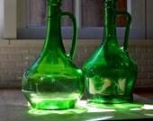 vintage green glass wine jugs pair 1970's