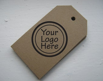 1000 Merchandise Tags Personalized with Your Logo - Rectangle on Kraft Brown