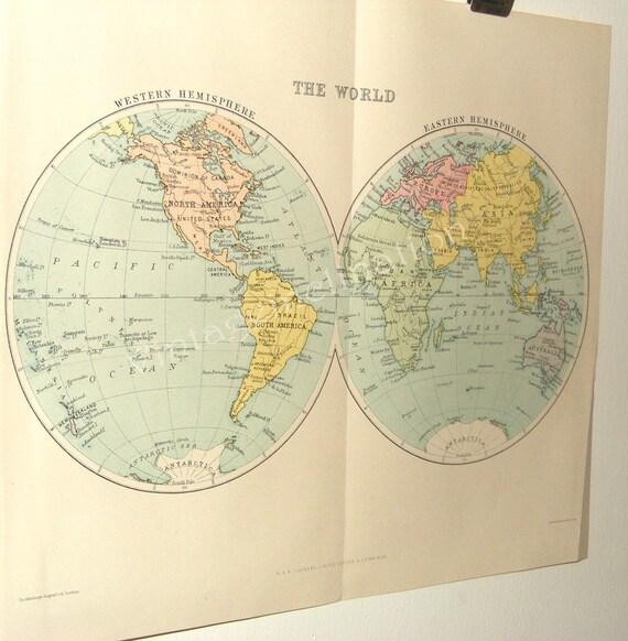 Map (ORIGINAL) of the Hemispheres Regions of the World 1924 ANTIQUE WORLD Map