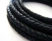 Leather Cord 6mm - Black Leather Cord Round Braided Bolo Genuine Leather Cord ( Hole Inside )