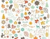 Digital Clip Art Set - Fall Autumn Florals Leaves - Brown Red Orange Yellow Beige Blue - 103 Pieces - floralset013