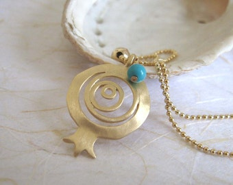 Gold pomegranate pendant necklace , Pomegranate and Turquoise necklace , Pomegranate jewelry , Handmade by Adi Yesod