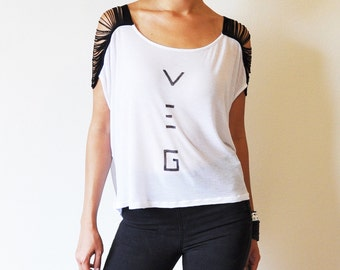 Veg Clothing - Ladies Loose White Top - Black Sleeves ( Size S / M / L )