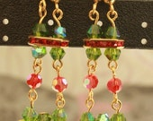 Holiday Party Gold-tone Beaded Dangle Earrings