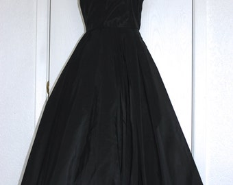 Opulent Black Taffeta Sequined Full Bouffant Party Gown