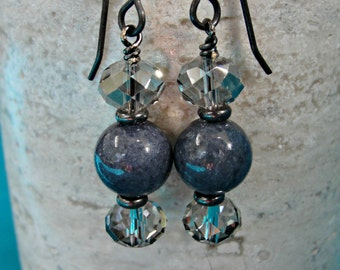 Crystal, Gray Agate and Gunmetal Earrings